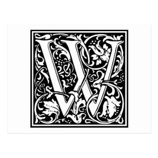 """Inicial decorativa """"W"""" de la letra Postal"""
