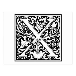 Inicial decorativa X de la letra Postales