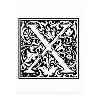 """Inicial decorativa """"X"""" de la letra Tarjetas Postales"""