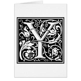 """Inicial decorativa """"Y"""" de la letra Tarjetas"""