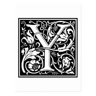 """Inicial decorativa """"Y"""" de la letra Postales"""