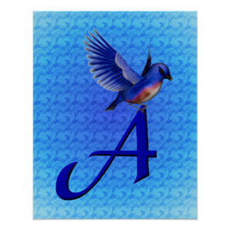 Inicial del monograma un poster del Bluebird