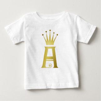 Inicial del oro un camiseta top del bebé del