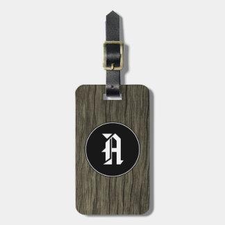 Inicial del personalizado + Modelo de madera Etiqueta Para Maletas