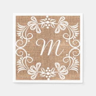 Inicial floral del monograma de la arpillera servilleta de papel