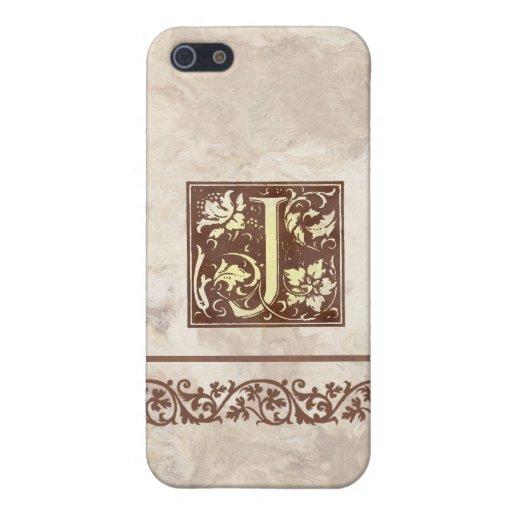 Inicial floral J del vintage iPhone 5 Protector