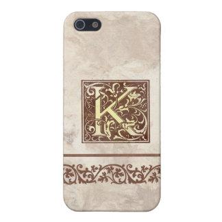 Inicial floral K del vintage iPhone 5 Coberturas
