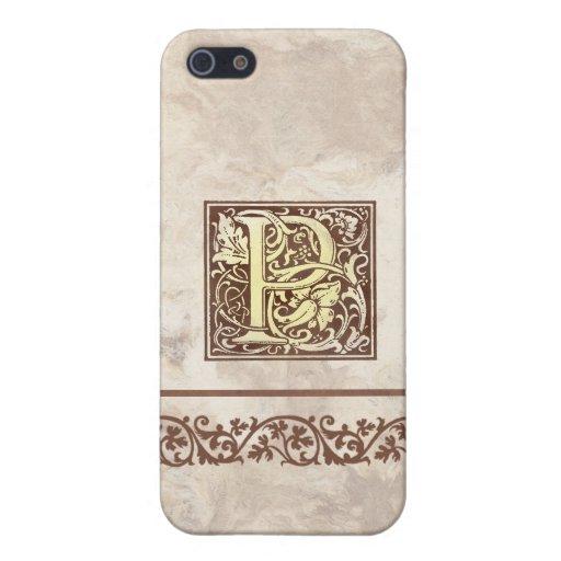 Inicial floral P del vintage iPhone 5 Protectores