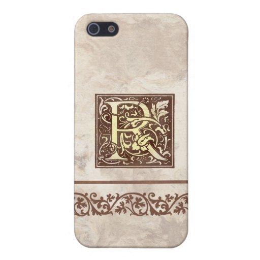 Inicial floral R del vintage iPhone 5 Carcasas