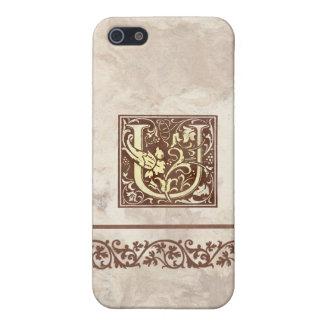 Inicial floral U del vintage iPhone 5 Fundas
