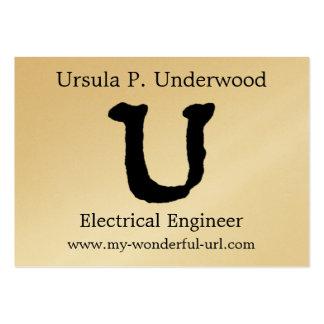 Inicial indicada con letras del estilo de la letra plantilla de tarjeta de visita