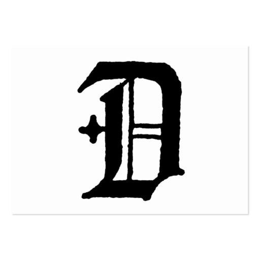 "Inicial inglesa clásica gótica de la letra ""D"" Tarjetas De Visita ..."