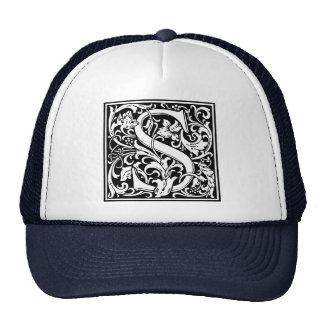 Inicial medieval del vintage del monograma de la gorras