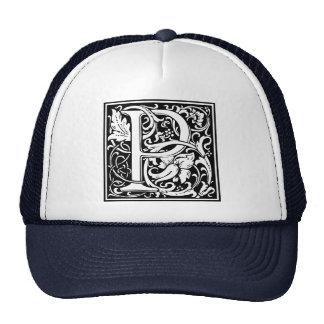 Inicial medieval del vintage del monograma de la gorros