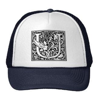Inicial medieval del vintage del monograma de la gorro de camionero