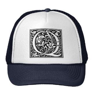Inicial medieval del vintage del monograma de la gorras de camionero
