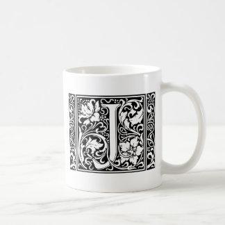 Inicial medieval del vintage del monograma de la taza básica blanca