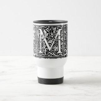 Inicial medieval del vintage del monograma de la taza de viaje de acero inoxidable