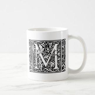 Inicial medieval del vintage del monograma de la taza clásica