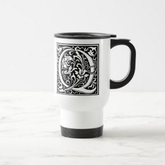 Inicial medieval del vintage del monograma de la taza de viaje