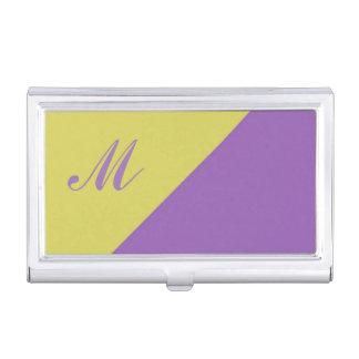 Inicial púrpura amarilla del monograma del bloque caja de tarjetas de negocios