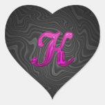 Inicial reluciente rosada - K Calcomanía De Corazón