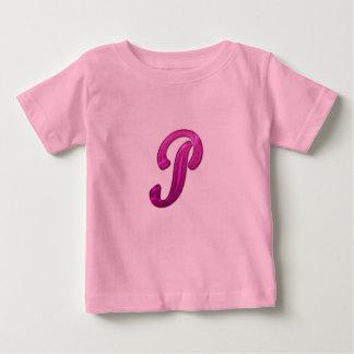 Inicial reluciente rosada - P Camiseta Para Bebé