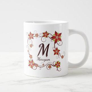 Inicial roja y nombre florales y vid enmarcados taza de café gigante