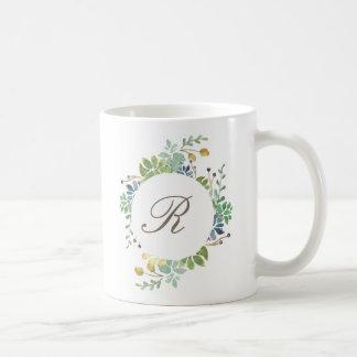 Inicial suculenta de la acuarela el | del jardín taza de café