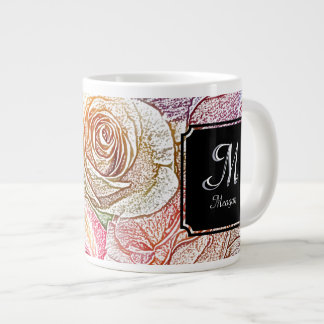 Inicial y nombre del monograma en los rosas de taza de café grande