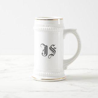Iniciales blancas de encargo de la caligrafía de jarra de cerveza