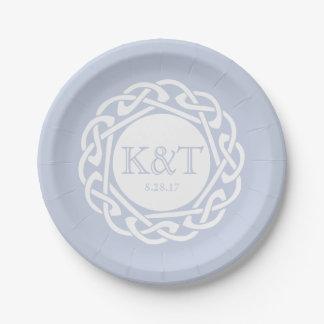 Iniciales célticas del nudo - placa del boda azul plato de papel