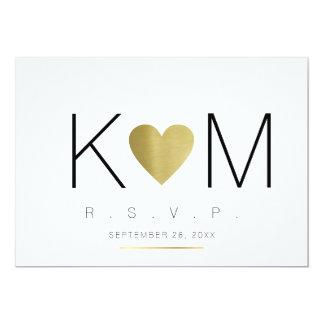 iniciales del amor y de los pares del rsvp, claro invitación 12,7 x 17,8 cm