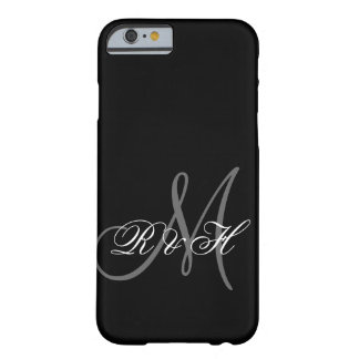 INICIALES GRISES NEGRAS DEL MONOGRAMA FUNDA PARA iPhone 6 BARELY THERE