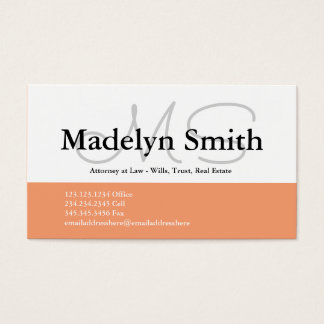 Iniciales intrépidas modernas del melocotón - tarjeta de negocios