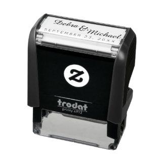 iniciales y fecha especial, un boda simple sello automático