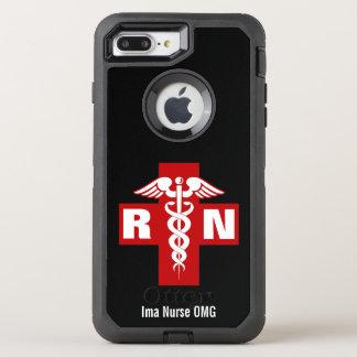 Iniciales y nombre del caduceo de la enfermera funda OtterBox defender para iPhone 7 plus