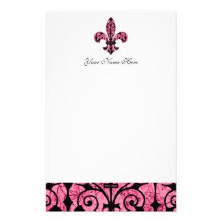 Inmóvil rosado de la flor de lis  papeleria de diseño