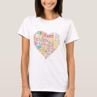 Inscripciones París en corazón Camiseta