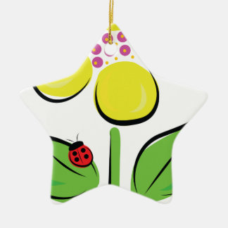 Insecto de la margarita adorno de cerámica en forma de estrella