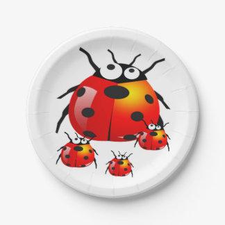 insecto de la señora con las mariquitas del bebé plato de papel