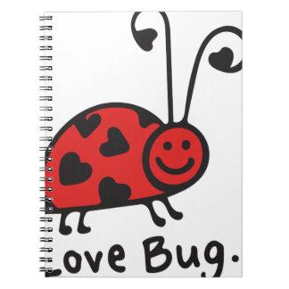 Insecto del amor libros de apuntes con espiral