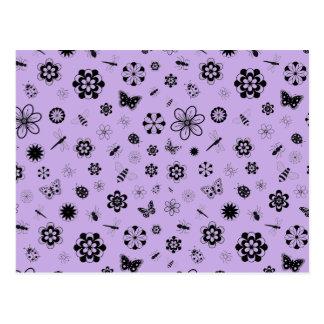 Insectos y flores (fondo púrpura del vector de la postal