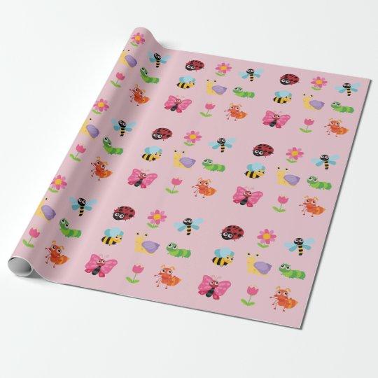 Insectos y flores papel de regalo