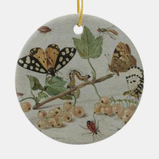 Insectos y frutas adorno redondo de cerámica