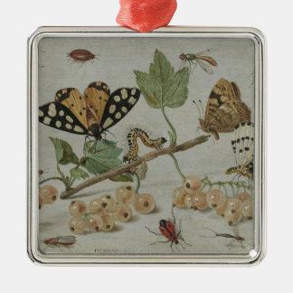 Insectos y frutas adorno cuadrado plateado
