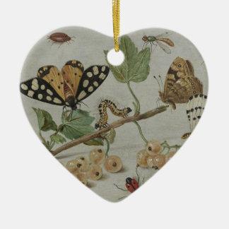 Insectos y frutas adorno de cerámica en forma de corazón