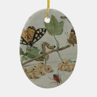 Insectos y frutas adorno ovalado de cerámica