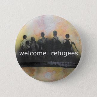 Insignia agradable de los refugiados chapa redonda de 5 cm