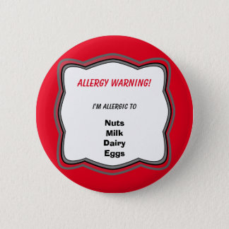 Insignia alerta del botón del Pin de la alergia